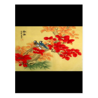 Oro chino y floral rojo postal