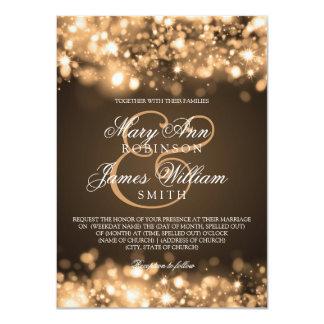 Oro chispeante de las luces del boda elegante comunicado personalizado