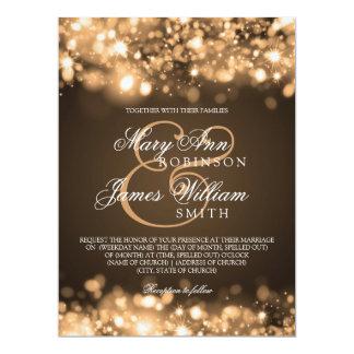Oro chispeante de las luces del boda elegante invitación personalizada