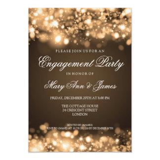 Oro chispeante de las luces del fiesta de invitación 12,7 x 17,8 cm