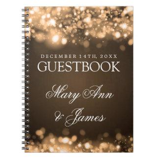 Oro chispeante de las luces del Guestbook del boda Libreta Espiral
