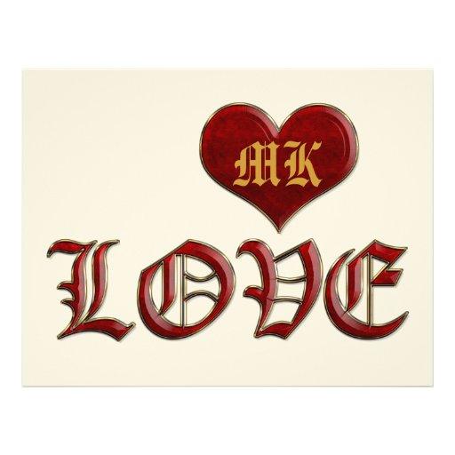 Oro clásico del amor de color rojo oscuro medieval membrete personalizado