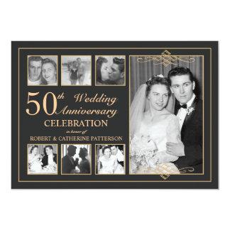 Oro clásico y aniversario de boda negro de la foto invitación 12,7 x 17,8 cm