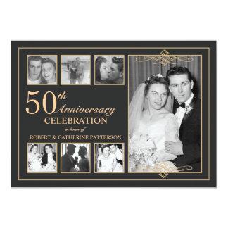 Oro clásico y aniversario de boda negro de la foto invitacion personalizada