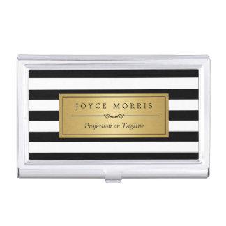 Oro clásico y rayas blancas negras personalizados caja de tarjetas de visita