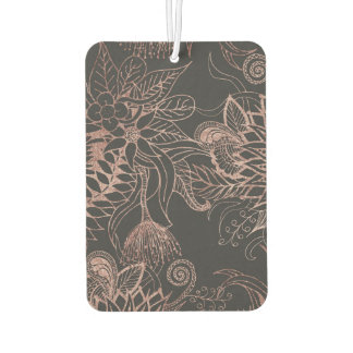 Oro color de rosa elegante y hojas negras de las