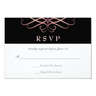 """Oro color de rosa y negro, el casarse elegante de invitación 3.5"""" x 5"""""""