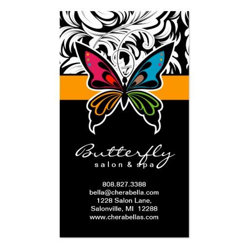 Oro colorido de la mariposa del balneario de las t tarjetas de visita