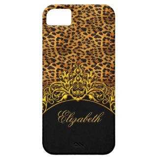 oro con clase elegante del negro del estampado leo iPhone 5 Case-Mate funda