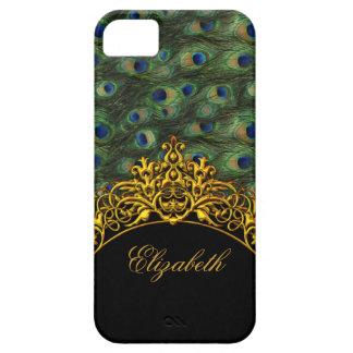 oro con clase elegante del negro del pavo real del funda para iPhone 5 barely there