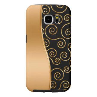 Oro con clase y caja blanca de la galaxia S6 Fundas Samsung Galaxy S6
