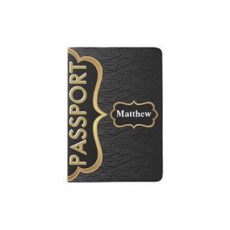 Oro con clase y negro porta pasaporte