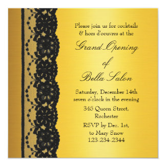 """Oro con gran inauguración del negocio del cordón invitación 5.25"""" x 5.25"""""""