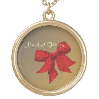 Oro con la CRIADA roja del arco del collar del HON