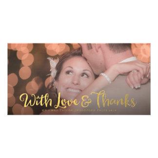 Oro con la tarjeta de la foto del boda de la capa tarjetas fotográficas personalizadas