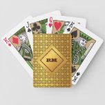 Oro con monograma baraja cartas de poker