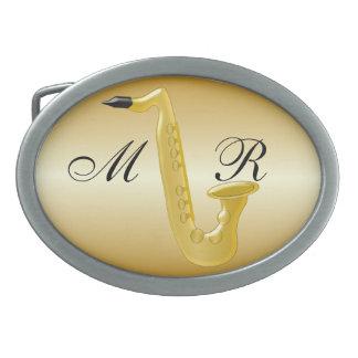 Oro con monograma del saxofón coloreado hebillas cinturón ovales