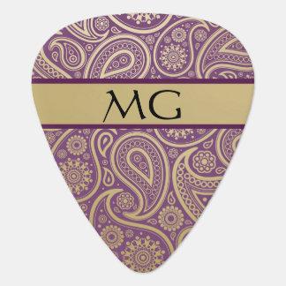 Oro con monograma Paisley 2B - púa de guitarra