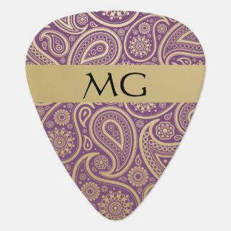 Oro con monograma Paisley 2C - púa de guitarra