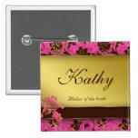 Oro conocido Brown rosado floral 2 del botón de la Pin