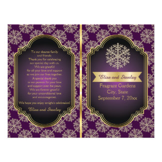 Oro, copo de nieve púrpura y programa del boda del folleto 21,6 x 28 cm