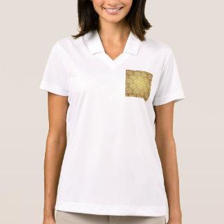 Oro, corazón, floral, damasco, vintage, moda, camisetas polos