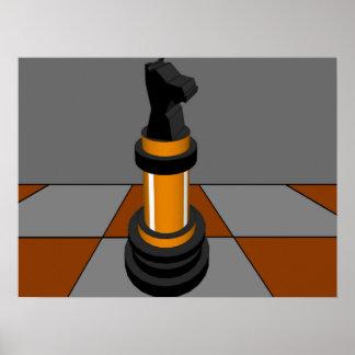 Oro CricketDiane del tablero de ajedrez del caball Poster