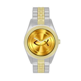 Oro cristiano del símbolo el   de los pescados reloj de mano