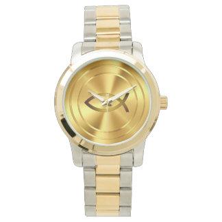 Oro cristiano del símbolo el | de los pescados reloj