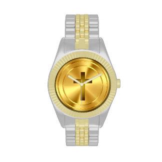 Oro cruzado cristiano del símbolo el | reloj de mano