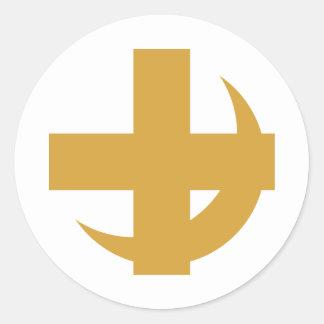 Oro cruzado y creciente pegatina redonda