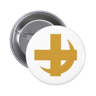 Oro cruzado y creciente pin redondo 5 cm