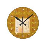 Oro curativo de REIKI: Oro del CRISTAL de las mues Relojes De Pared