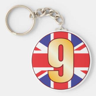 Oro de 9 Reino Unido Llavero Redondo Tipo Pin