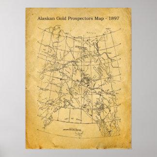 Oro de Alaska del vintage que prospecta el mapa -  Impresiones