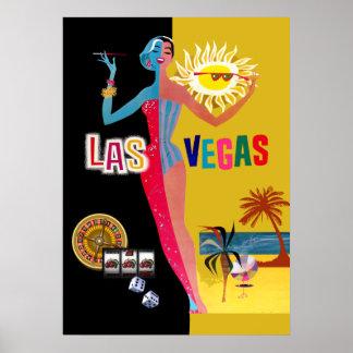 Oro de amor y negro del vintage de Las Vegas el   Póster