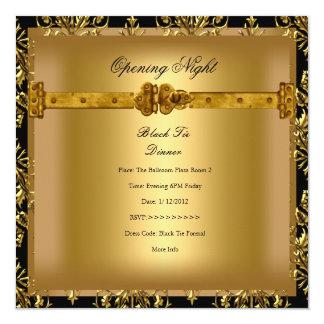 """Oro de apertura del negro del damasco del negocio invitación 5.25"""" x 5.25"""""""