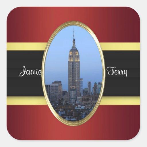 Oro de Borgoña del Empire State Building 03 Pegatina Cuadrada