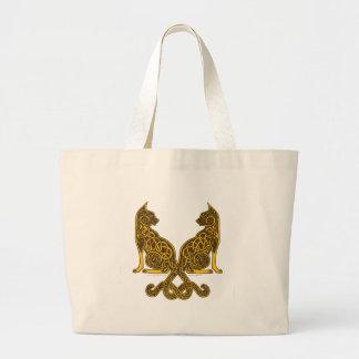 oro de bronce de los gatos 6 célticos bolsa tela grande
