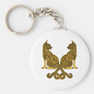 oro de bronce de los gatos 6 célticos llavero redondo tipo pin