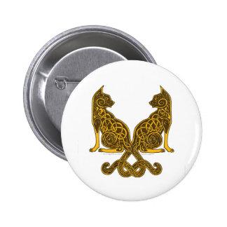 oro de bronce de los gatos 6 célticos pin redondo de 2 pulgadas