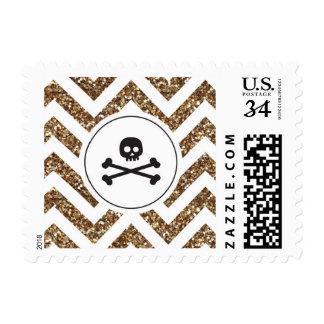 Oro de Chevron y sellos negros de Halloween