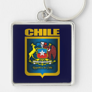 """""""Oro de Chile """" Llavero Cuadrado Plateado"""