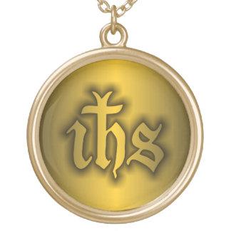 Oro de Christogram (EL SUYO) Colgante Redondo