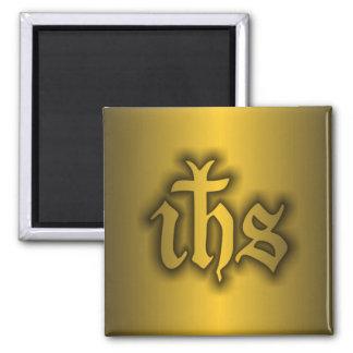 Oro de Christogram (EL SUYO) Imán Cuadrado