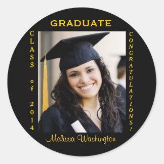 Oro de encargo de la foto de la graduación redondo pegatina redonda