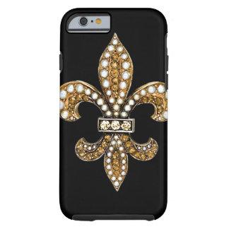 Oro de Flor New Orleans de la flor de lis Funda Para iPhone 6 Tough