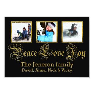 Oro de la alegría del amor de la paz, foto negra invitación 12,7 x 17,8 cm