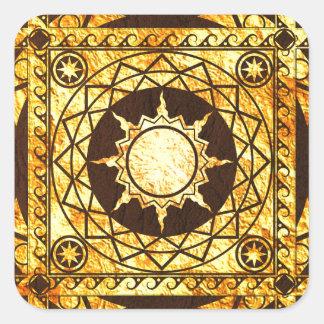 Oro de la Atlántida de los artes en el cuero de Pegatina Cuadrada