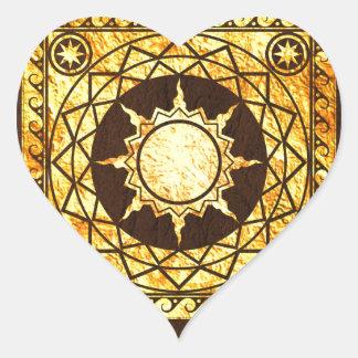 Oro de la Atlántida de los artes en el cuero de Pegatina En Forma De Corazón
